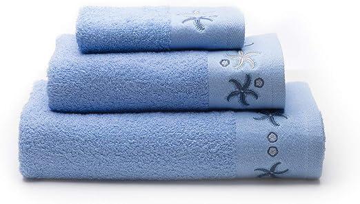 Juego de 2 Toallas de Lavabo Tama/ño 50x100 cm Sancarlos Ocean Color Azul