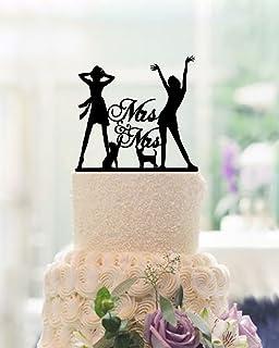Amazon lesbian mrsmrs wedding cake toppers mrs and mrs lesbian wedding cake toppers mrs and mrs 2 brides wedding cake toppers with dog cat wedding junglespirit Images