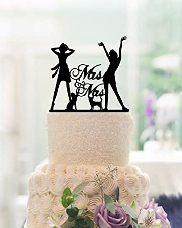 Lesbian Wedding Cake Toppers Mrs And Mrs 2 Brides Wedding Cake Toppers With  Dog Cat Wedding