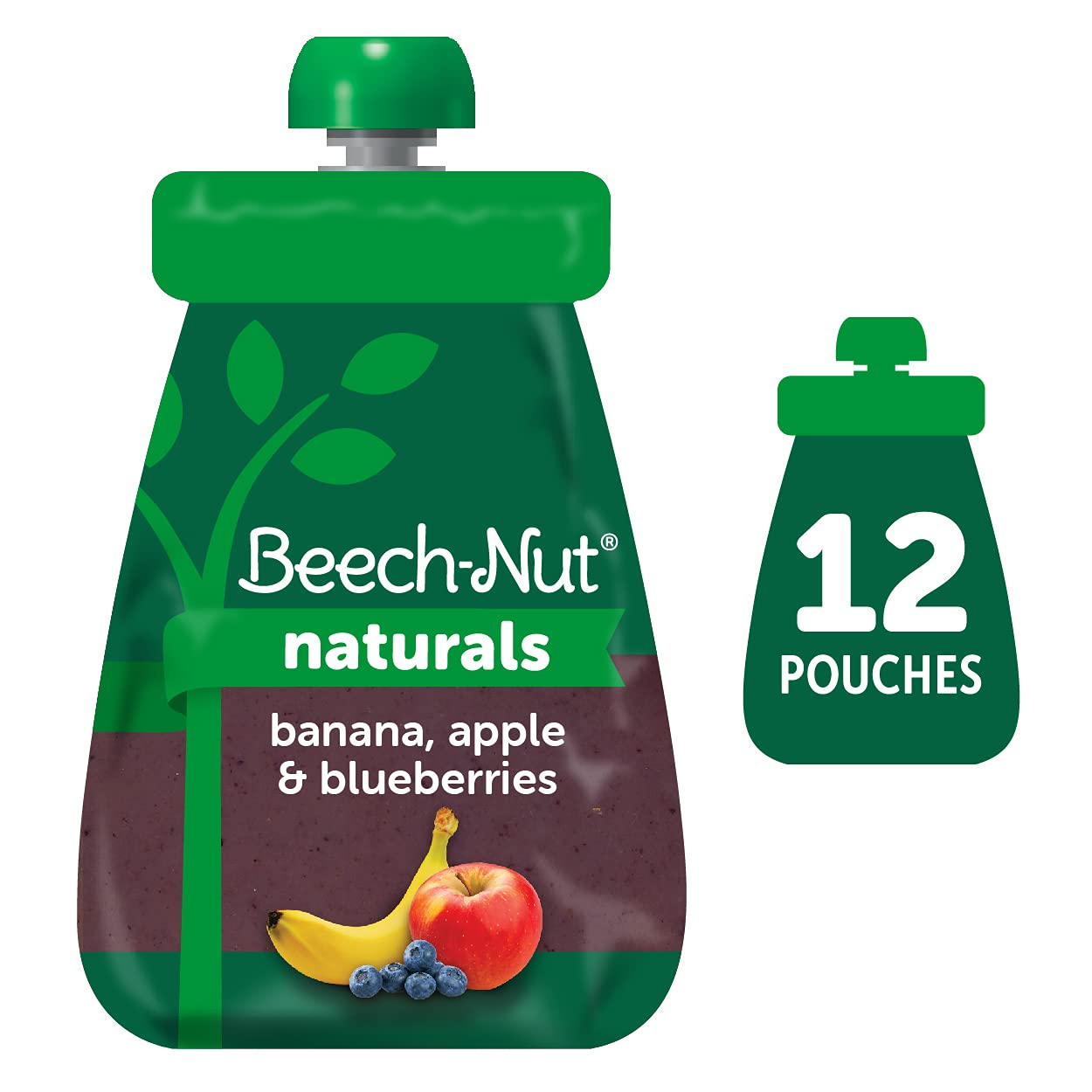 Beech-Nut Naturals Stage 2 Baby Food Pouch, Banana, Apple & Blueberries, 12 Count, 3.5 oz Pouches