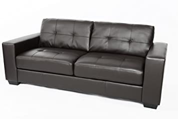 Fairmont Furniture Naples 3 Seater Leather Sofa   Brown, Faux Leather