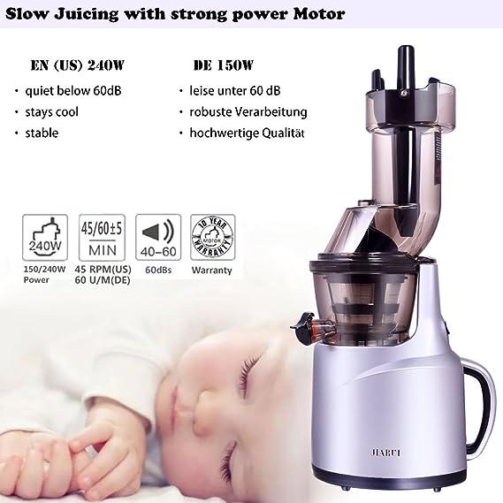 JIARUI Slow Juicer - Exprimidor Eléctrico - Exprimidor para Prensa en Frío Plata (150W, 60 rpm, 58dB tranquilo, Flujo y Retorno, Sin BPA) con Accesorios, ...