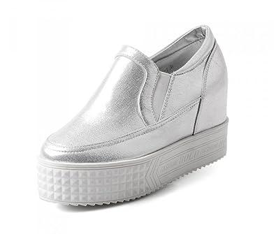 Aisun Damen Rund Hoch Plateau Sneakers Sportschuhe Silber 34 EU rkeer5