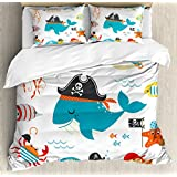 Ambesonne Kids Duvet Cover Set Queen Size, Ahoy Pirate Whale Turtle Pipe Hook Crab Octopus Captain Starfish Swordfish Nautical Underwater Print, Decorative 3 Piece Bedding Set with 2 Pillow Shams