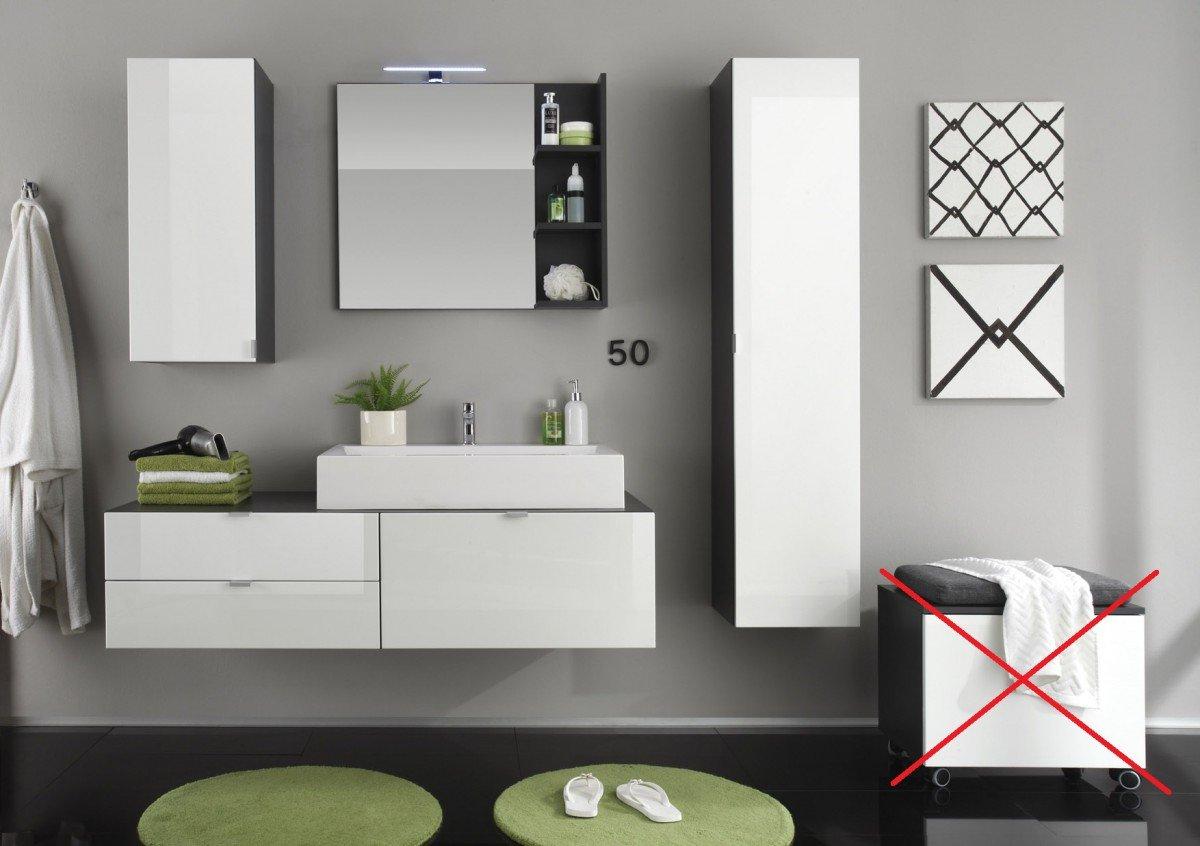 Dreams4Home Badmöbel Set 'Rhona', 5-teilig Badezimmer Komplettprogramm Badmöbelprogramm grau / weiß Hochglanz, Beleuchtung:Aufsatzbeleuchtung 30 cm LED kalt-weiß