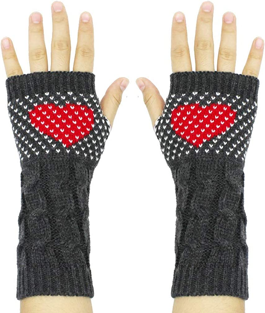 Women Cable Knit Fingerless...