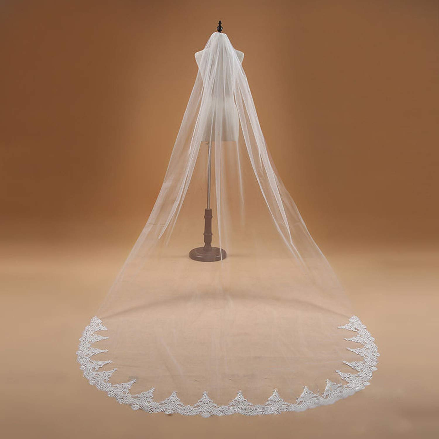 Voile 3M One Layer Lace Edge White Ivory Cathedral Wedding Veil Long Bridal Veil Wedding Accessories