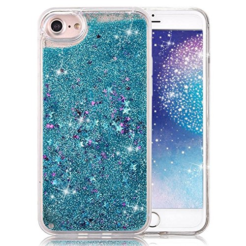 Tech Express Waterfall Quicksand Case for Apple iPhone SE / 5 / 5s Glitter Cascade Star Naked Tough 3D Bling Movable Clear Tank Dynamic Snow Globe Water Liquid (Blue)