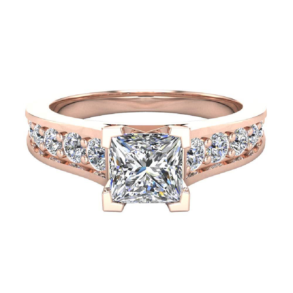 Amazon.com: Anillo de compromiso de diamante de corte ...
