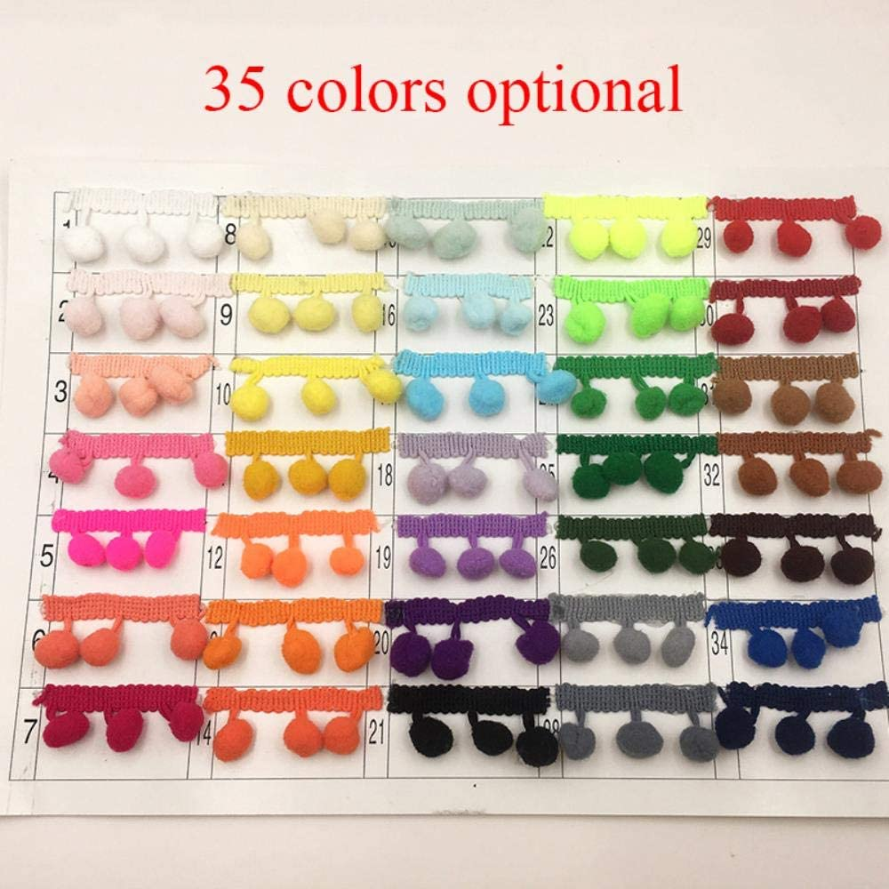 20 Yardas 20 Yardas//Lote 35 Colores Pomp/ón De Color Opcional Bola Peque/ña Borla De Algod/ón Recorte Flecos Diy Para Decoraci/ón De Cortinas De Costura