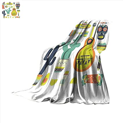 smallbeefly Fiesta Digital Printing Blanket Symbols from Mexico Guitar Face Aztec Mask Tequila Skull Musical Instruments