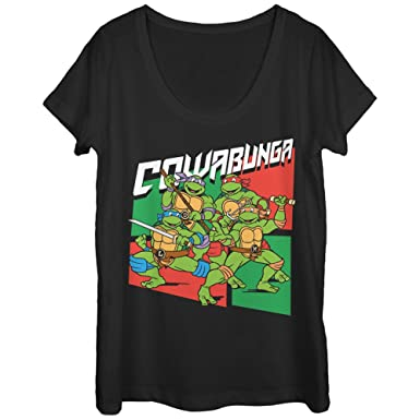 5d93ee91e Teenage Mutant Ninja Turtles Women's Cowabunga Heroes Black Scoop Neck T- Shirt
