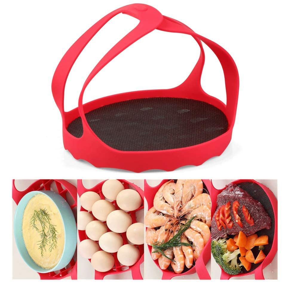 Silicone Food Steamer Basket, with Handle Pressure Cooker Sling Egg Steamer Insert Silicone Egg Ring, Compatible with Most of The Market Instant Pot Pressure Cooker