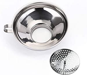 Wide Mouth Canning Funnel with Strainer, Stainless Steel Kitchen Funnels for Wide and Regular Mason Jars, 5.8 Inch Large Food Canning Funnel Set