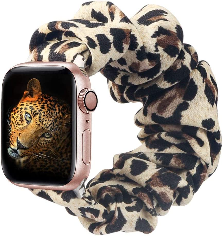 BMBMPT Scrunchie Elastic Watch Band Compatible with Apple Watch Band 38mm 40mm 42mm 44mm Cloth Soft Pattern Printed Fabric Wristband for iWatch Series 5,4,3,2,1 (A-Leopard, 38mm/40mm Large size)