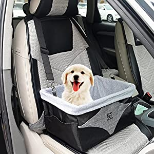 WOpet Deluxe Dog Booster Car Seat with Clip on Safety Leash - Zipper Storage Pocket – Pet Booster Carrier with Cushion Perfect for Small and Medium Pets up to 20 lbs (Black)