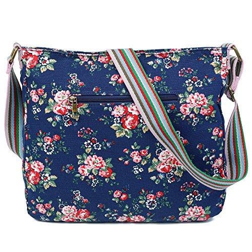 Trendy Craze Flower Cross London Womens Body Canvas Shoulder Flower Messenger Dark Bag Blue Design ZS4CxS