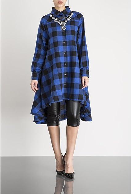 Women's New Plaids Irregular Hem Casual Shirt Dress