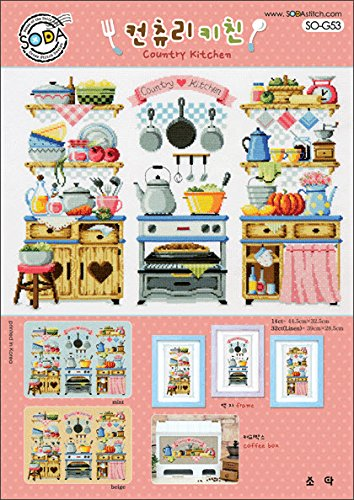 SO-G53 Country Kitchen, SODA Cross Stitch Pattern leaflet, authentic Korean cross stitch design chart color printed on coated paper (Pattern Kitchen Cross Stitch)