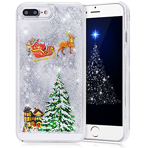 iPhone 7 Plus Case 5.5 inch, CinoCase 3D Creative Liquid Case [Christmas Collection] Quicksand Moving Stars Bling Glitter Snowflake Christmas Tree Santa Claus Pattern Hard PC Case for iPhone 7 Plus (Christmas Hard Case)