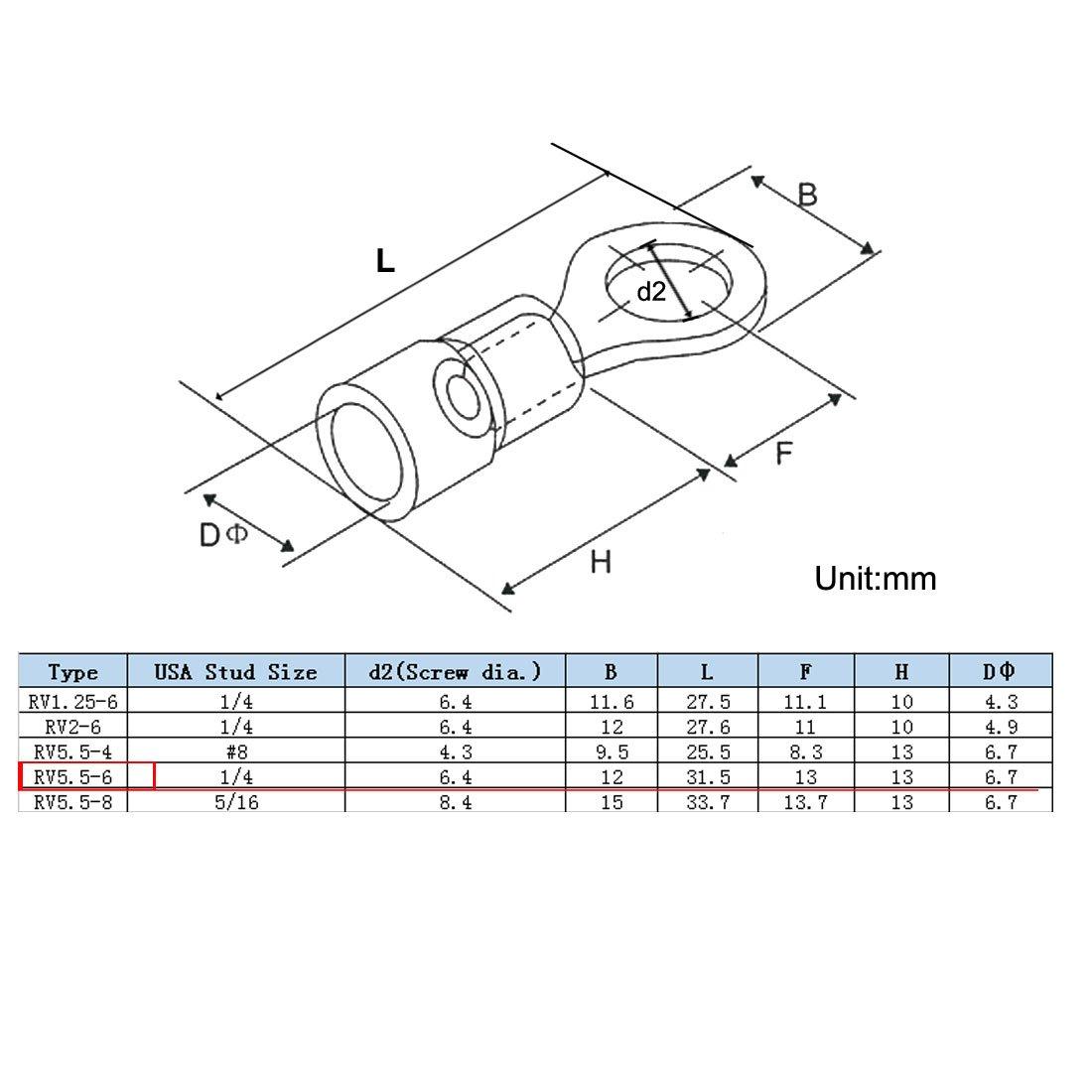 sourcing map 50Pcs RV5.5-6 Bague cosses isol/ées Connecteurs /à sertir fil /électrique