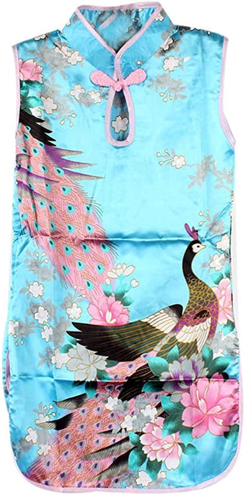 Froomer Girls Stand Collar Chinese Qipao Floral Peacock Dress Clothes