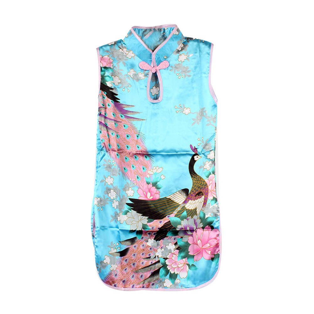 Weixinbuy Kid Girls Qipao Sleeveless Peacock Printed Chinese Cheongsam Mini Dress