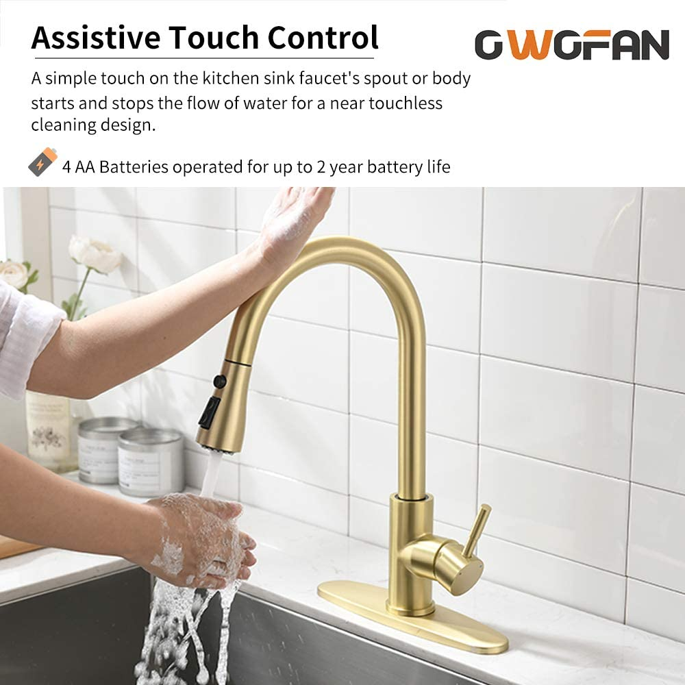 OWOFNA Touch On Kitchen Faucets with Pull Down Sprayer Smart Kitchen Sink Faucets with Deck Plate Stainless Steel Brushed Gold 1068J