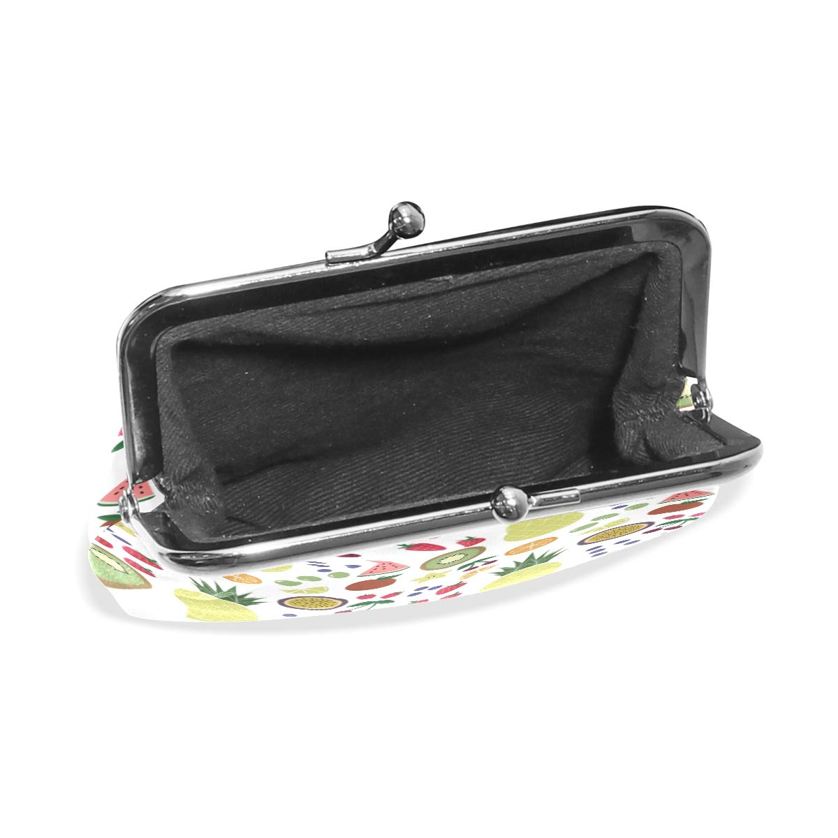 Womens Leather Kiss Lock Double-Sided Fruits Coin Purse Wallets