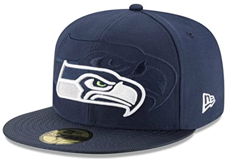 df6070ddf89 Image Unavailable. Image not available for. Color  Seattle Seahawks Fitted  Size 7 1 2 Double Logo Official NFL Sideline 59FIFTY Hat Cap