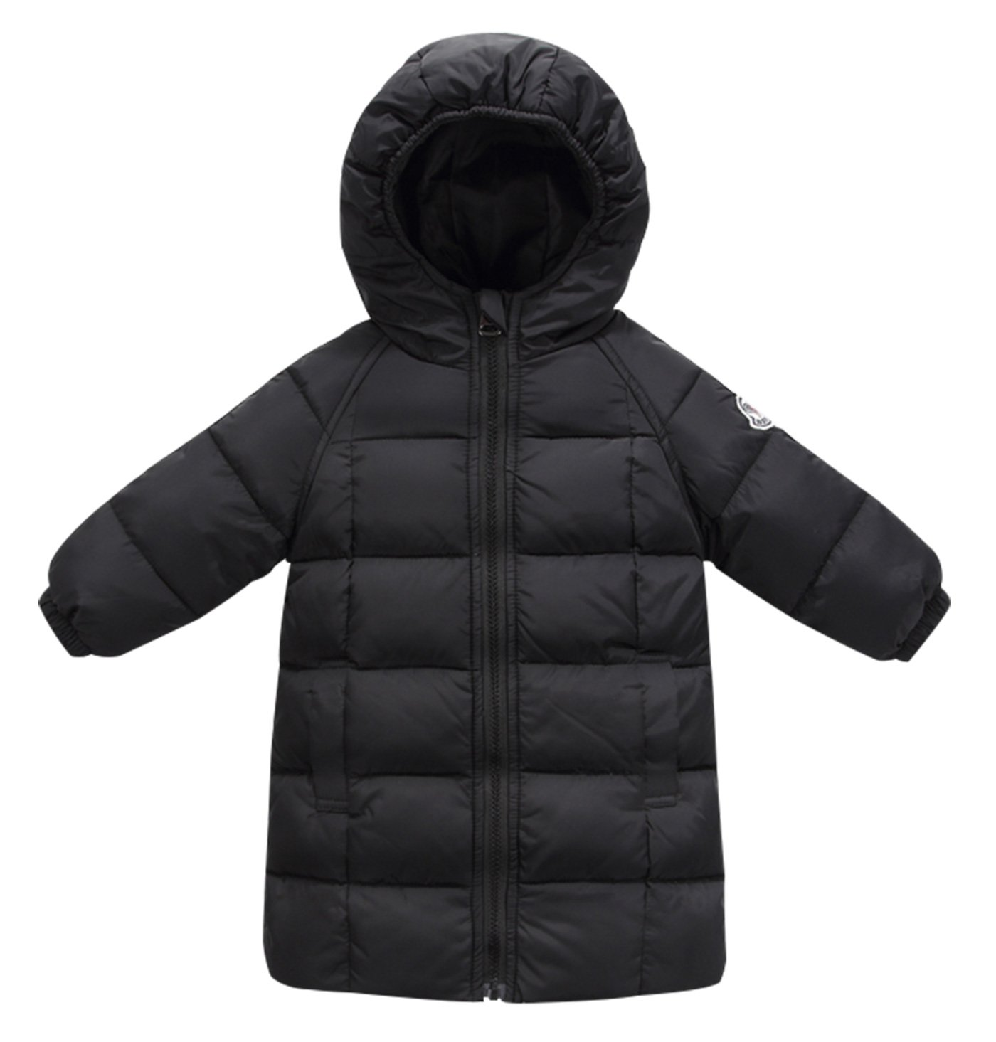 Happy Cherry Toddler Boys Winter Long Coat Down Puffy Jackets Winter Zipper Up Outwear with Pockets 2-3T Black by Happy Cherry