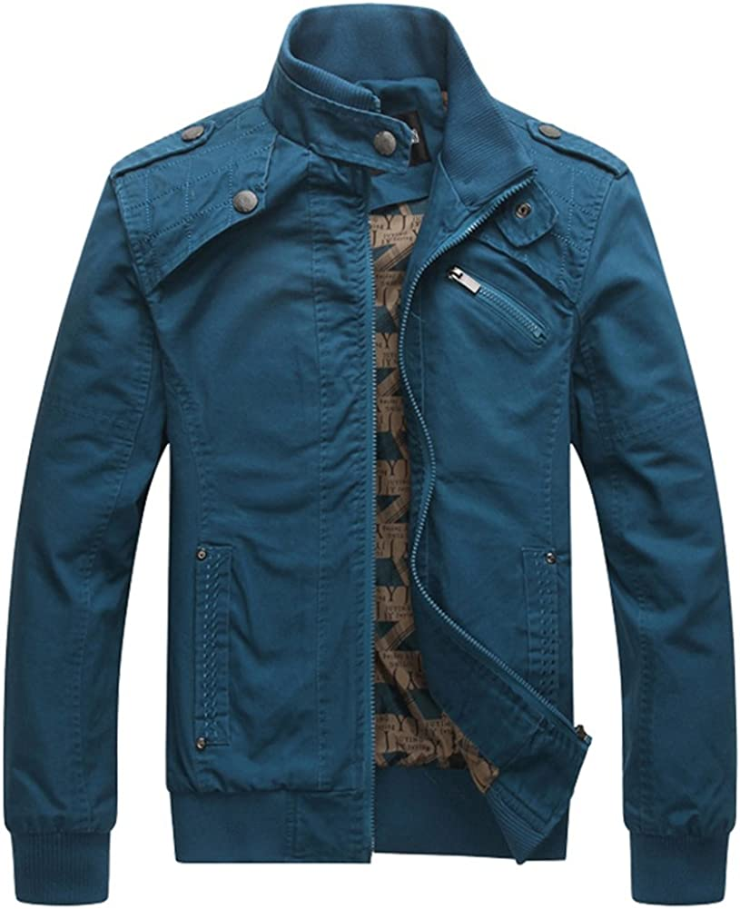 Blouson Homme Couleur Unie Fermeture Éclair Col Debout Slim Fit Gros Veste Militaire Voler Manteau Polyester Bleu Foncé