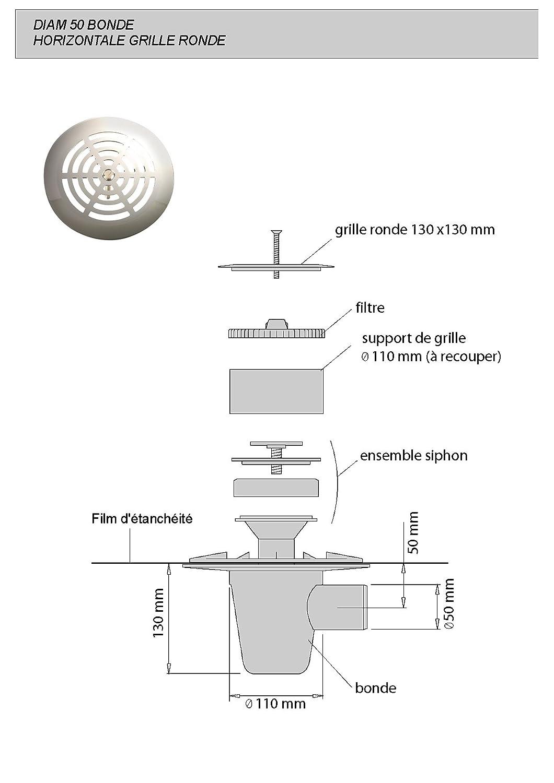 Lazer 230210 Isotanche Classic B/âche d/étanch/éit/é avec siphon sortie horizontale grille ronde /Ø 50 1200 x 1200 mm