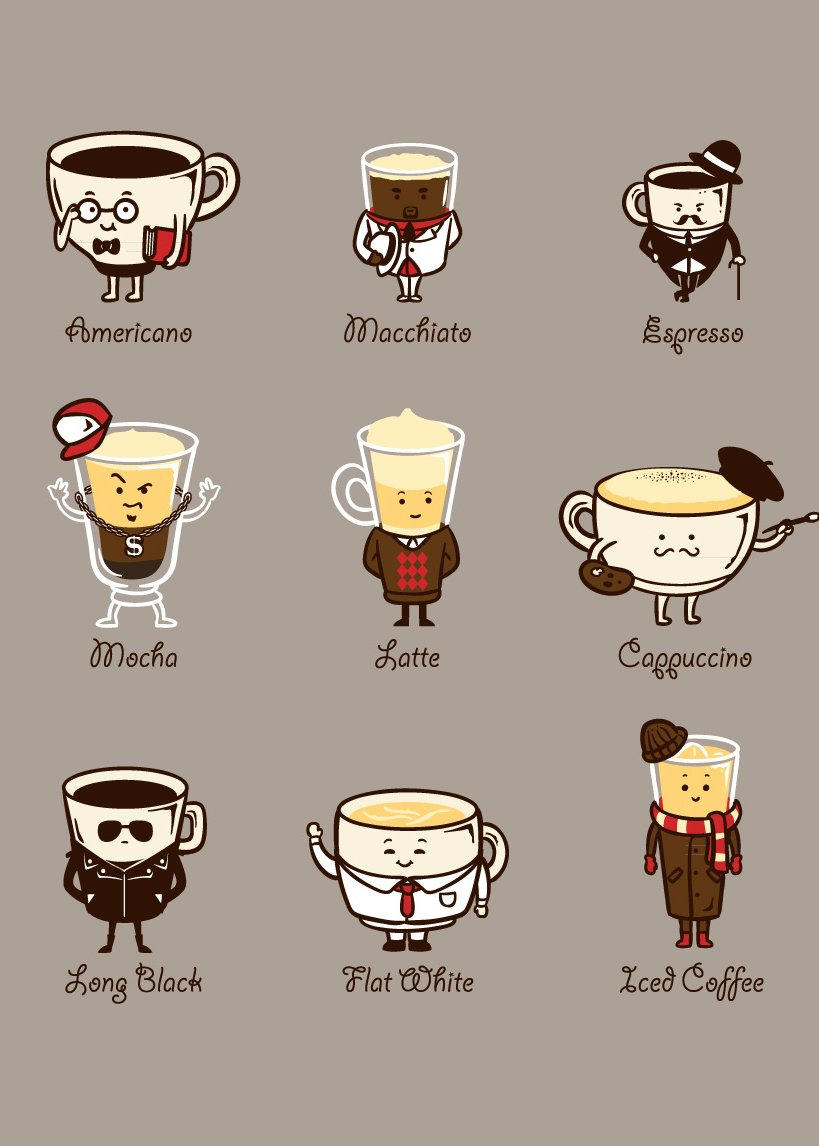 """""""Coffee Personality"""" Funny Cartoon Coffee Drink Types w/ Expressions - Rectangle Refrigerator Magnet"""