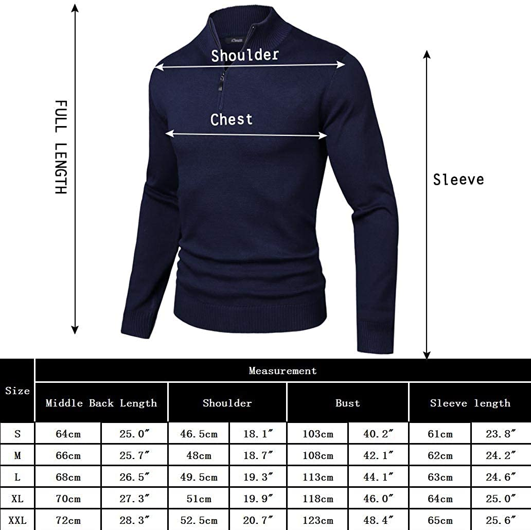 iClosam Mens Casual Slim Fit Zip up Polo Sweaters Mock Neck Pullover Sweaters with Ribbing Edge