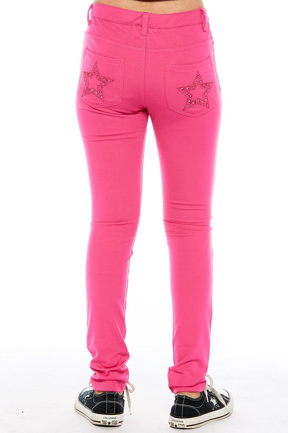 Girls Kids Cute Comfy Star Bedazzled Color Skinny Pants GJJSTAR