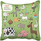 Throw Pillow Cover Square 18x18 Inches Farm Animals and Livestock with Black and White Cow Horse Donkey Sheep Pig Piglet Goose Duck Polyester Decor Hidden Zipper Print On Pillowcases