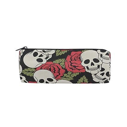 BONIPE - Estuche para lápices, diseño de rosa con calavera, con ...