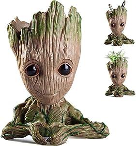 Baby Groot Flower Pot, Nuokexin Flowerpot Treeman Heart-Shaped Groot Succulent Planter Cute Green Plants Flower Pot with Hole Pen Holder Best Christmas Gift