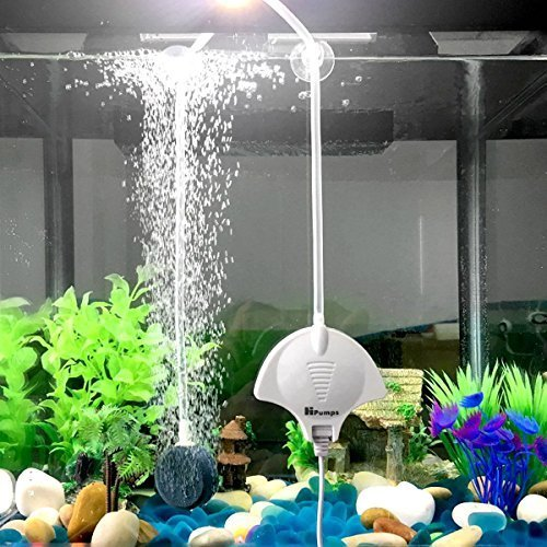 Super Quiet Aquarium Air Pump JVSURF Mini Silent Oxygen Air Pump for Fish Tank with Air Stone and Tube (White)