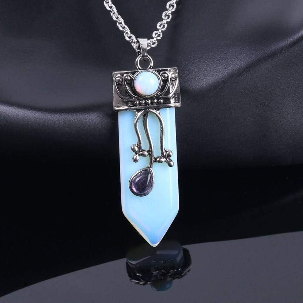 Collar Piedra Para Mujer,Vintage 7 Chakra Natural Azul Ópalo Espada En Forma De Péndulo Cónico Péndulos Colgante Cadena De Plata Gargantilla De Verano Equilibrio De Energía Reiki Piedras Precios