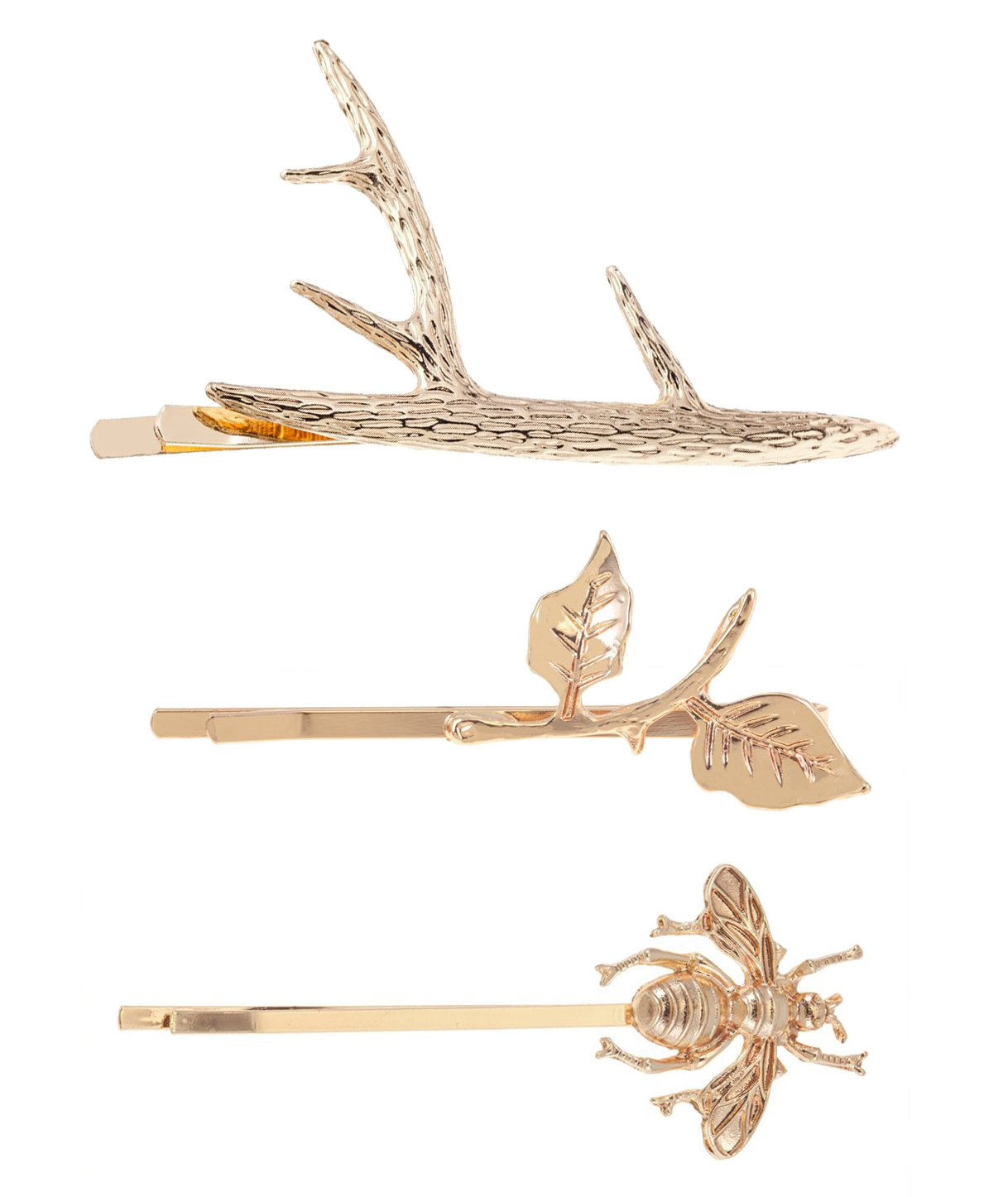 Fabulous Set of 3 Golden Hair Pins / Hairstyles Clasps With Detailed Leaves Decorations, Deer Horn Shaped And Detailed Bee Shaped By VAGA 646437932837