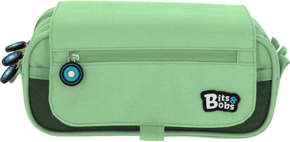 Grafoplás 37543226. Estuche Escolar Triple con Solapa, Color Verde Mint, 23x10x10cm, Bits & Bobs.