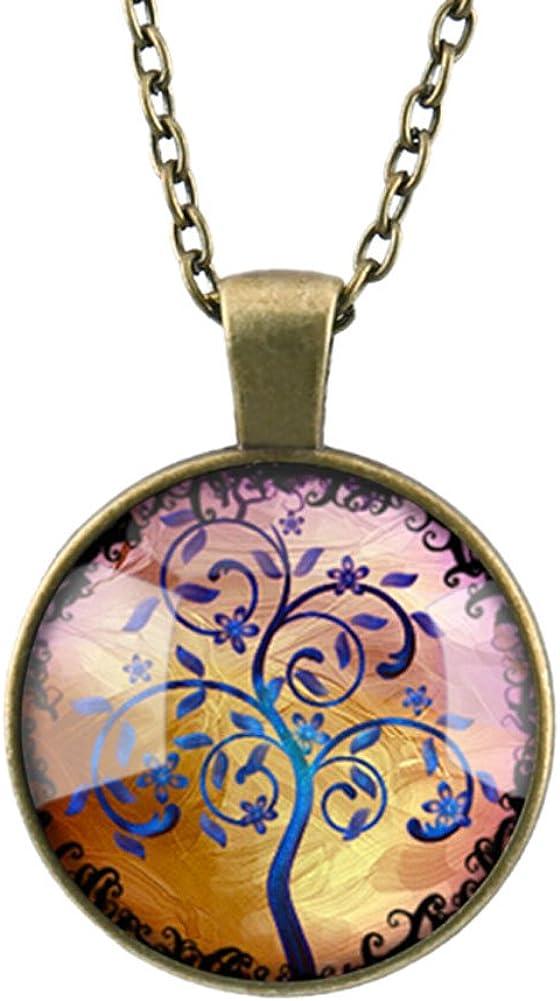 DELEY Vintage Bronze Charme de larbre de la Vie en Verre Cabochon D/ôme Bijou Pendentif de Collier de D/éclaration