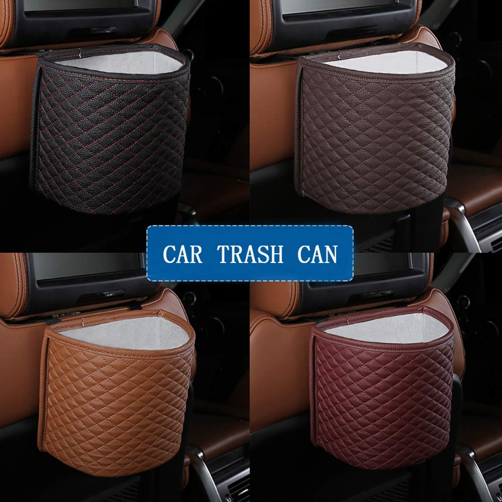 Red Sangyn Car Garbage Bin Can with Lid Leakpoof Auto Trash Can Hanging with Removable Washable Inner Holder