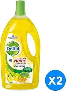 منظف ديتول الصحي لجميع الأغراض للمنزل برائحة الليمون - مجموعة من 2 قطعة (2 x 1.8L)