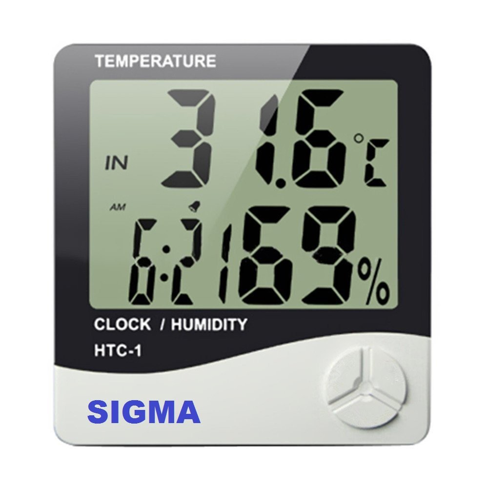 Sigma Instruments Make Digital Temperature Humidity Time Display Meter With  Alarm Clock, Wall Mount Or Table Top, With Inbuilt Sensor