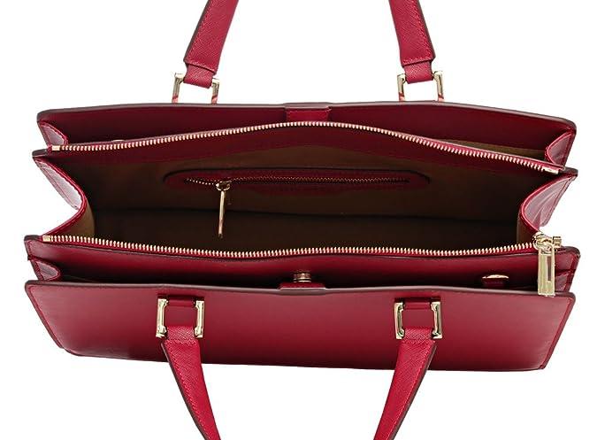 fef2be7bb827b Bovari Victoria Bag Handtasche Schultertasche Umhängetasche (39x29x13 cm) – Saffiano  Leder – rot red Rouge  Amazon.de  Schuhe   Handtaschen