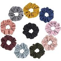 Furling Set of 10 Linen Hair Scrunchies Hair Elastics Hair Bow Ponytail Holder Hair Accessories for Women