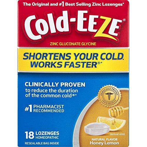 Cold-EEZE Cold Remedy Lozenges Honey Lemon, 18 Count, Cold Remedy Lozenges, Pharmacist Recommended Zinc Lozenge, Shortens Colds (Best Honey For A Cold)